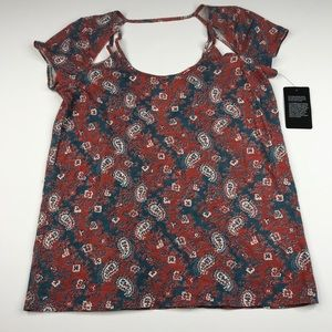 Chaser Cut Out V Back Paisley Top T-shirt NWT